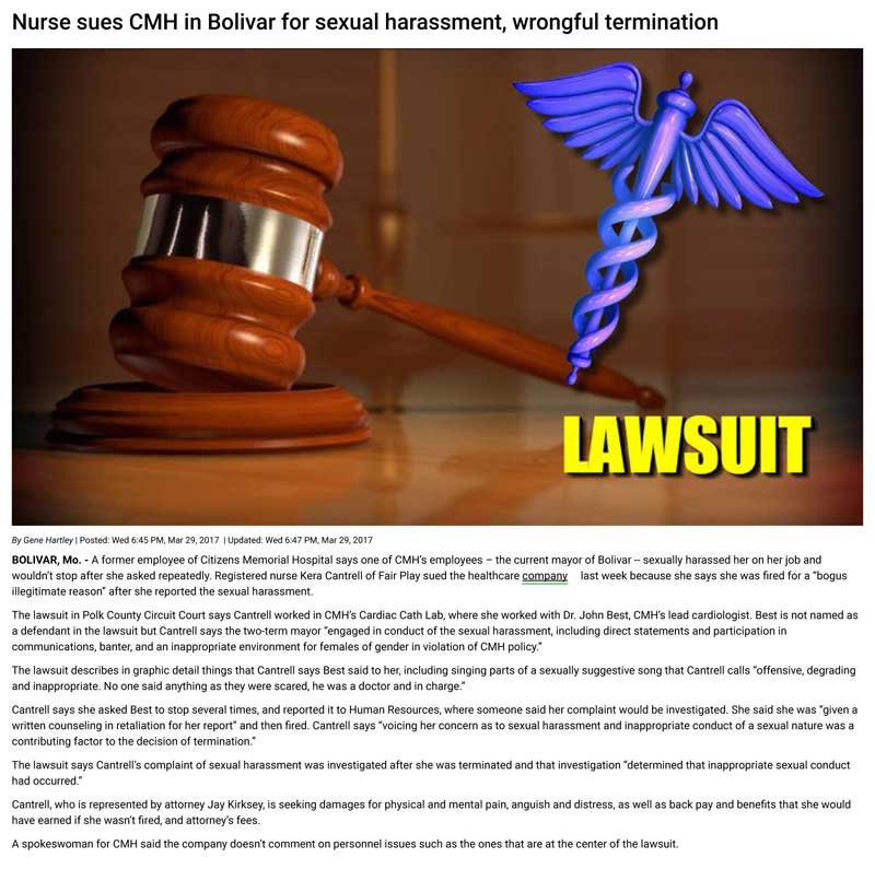 Nurse sues CMH in Bolivar for sexual harassment, wrongful termination